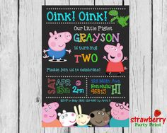 Peppa Pig Invitation Peppa Pig Birthday by StrawberryPartyPrint