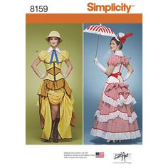 Simplicity Pattern 8159 Steampunk Jane Cosplay Costumes with Corsets
