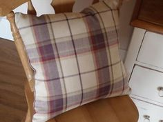 Laura-Ashley-Highland-Check-Grape-Purple-Cushion-Cover-Reversible-16-Zipped