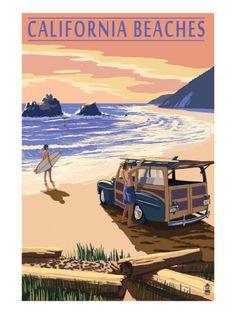 Laguna Beach, California - Woody on Beach - Lantern Press Artwork Giclee Art Print, Gallery Framed, Espresso Wood), Multi Newport Beach California, Vintage California, Encinitas California, Ventura California, California Usa, Cayucos California, Cambria California, Newport Oregon, Santa Cruz California