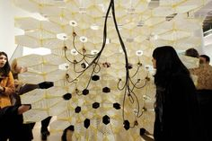 Xeromax Envelope immersive installation in San Francisco, California by FUTUREFORMS (Jason Kelly Johnson and Nataly Gattegn Interactive Installation, Future City, Geometry, Facade, Envelope, Ceiling Lights, Projects, Lab, Cities