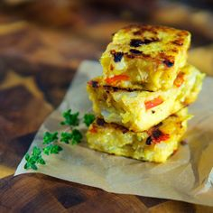 Red peppers and onion make a colorful and healthy polenta side dish. Stores beautifully in the freezer.