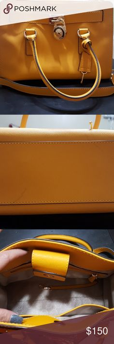 Michael Kors Halmiton yellow hand bag Barely used 90%new. There only 2 pen marks in the bottom, come with dust bag Michael Kors Bags Satchels
