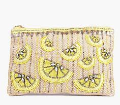 Boohoo Clara Sequin Lemon Clutch Bag