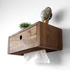 【数量限定販売】【まとめ買いでお得!3個まで送料一律】ウォールナット無垢材 オイル仕上げ 壁をオシャレに飾る壁面収納家具 ウォールシェルフ WSシリーズ ティッシュボックス ウォールナット材 - JOYSTYLE interior Nightstand, Wood, Furniture, Wood Boxes, Wood Art, Floating Nightstand, Home Decor, Room