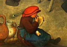 pottery, feathered cap - Bruegel the Elder, Peasant Wedding, detail 3 by f_snarfel, via Flickr