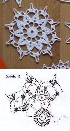Сhristmas snowflakes crochet snowflakes set of 6 Xmas di N Crochet Snowflake Pattern, Crochet Motif Patterns, Crochet Snowflakes, Crochet Diagram, Crochet Chart, Thread Crochet, Crochet Christmas Decorations, Crochet Decoration, Crochet Ornaments