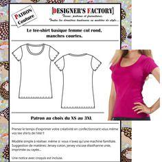 Patron tee-shirt femme col rond p009
