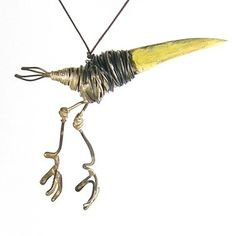"I adore this. -- Thomas Hill. Bird Pendant  Wood, steel and paint, bird pendant. Approx. 3"" beak to tail."