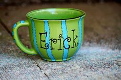 A J. Bee Designs exclusive, stripe coffee mug is 14oz. and is sure to brighten any morning! Great for cocoa, soup, and cereal as well.  http://www.jbeedesigns.com/store/WsDefault.asp?One=387