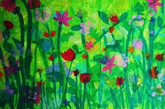 Collage tissue paper on canvas. From Studio Kids - Children's Art Classes in Ballard, Seattle: Spring Fling's Almost Here