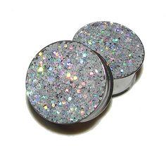 Disco Ball Silver Glitter Plugs  1 Pair  Sizes by PlainJanePlugs, $16.95