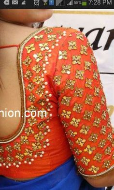 Gota stone pearl zardosi blouse on dupian silk to spice up any simple saree! Get this with a pure chiffon saree in your favourite color on www. Saree Blouse Patterns, Saree Blouse Designs, Blouse Styles, Sari Blouse, Saree Dress, Blouse Outfit, Dress Designs, Mirror Work Blouse, Simple Sarees