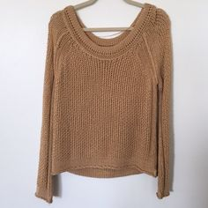 Free People Knitted Pullover Good condition. Super cute. Caramel colored. Perfect for spring, summer and fall. Free People Sweaters