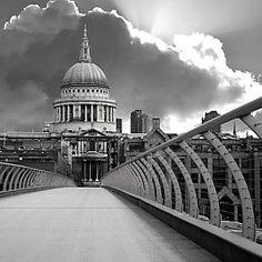 Walking across the Millenium Bridge, London