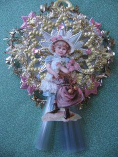 Victorian or Vintage Look Christmas, Valentine or Easter Ornament- German Scrap, German Dresdens,Vtg Tinsel, Spun Glass. $22.00, via Etsy.