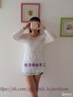 de Blusa Patron crochet blusa De Blusas Crochet manga Patrones a gratis04 tejida larga De ggvwq5
