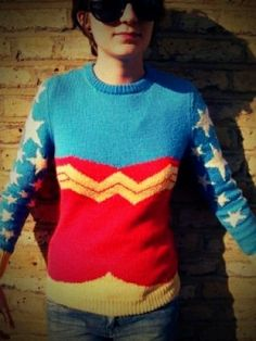 Wonder Woman sweater by frieda.  Though I doubt I'd ever wear it myself, I like the way the costume has been reimagined.