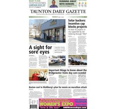 The front page of the Taunton Daily Gazette for Monday, April 13, 2015.