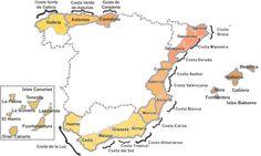 Mapa de las costas españolas