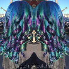 Ribons of rainbow hair mermaid hair unicorn hair by Ashley Kouza hotonbeauty.com