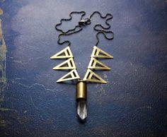 Modern Brass Geometric Statement Necklace with Raw by BevaStyles