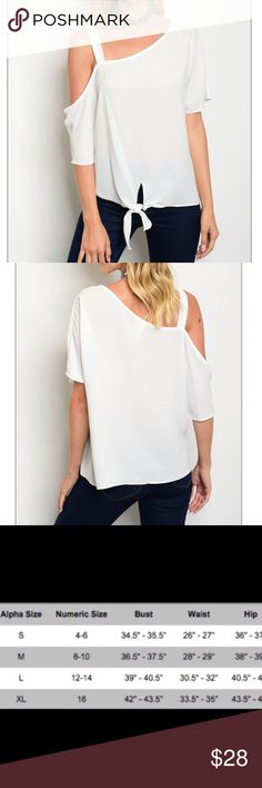 """Off Shoulder Top Unique off shoulder top featuring an asymmetrical neckline.   100% Polyester  Size Small: L: 24"""" B: 44"""" W: 42""""  Made in USA🇺🇸  🚫Trades ✅Bundle and save Fresh Fashion Boutique Tops Blouses"""