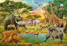 Teaming with life, this Ideal Decor On Safari Wall Mural depicts exotic animals at a watering hole. This fun mural captures the energy of wildlife. Tier Wallpaper, Animal Wallpaper, Photo Wallpaper, Wallpaper Murals, Jungle Animals, Animals And Pets, Wild Animals, Jungle Lion, Draw Animals
