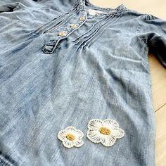 . ・ ・ #刺繍#刺しゅう#embroidery#handmade#ハンドメイド#手作り#ちくちく#針仕事 #娘の服に刺しゅう
