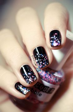 Black Acrylic Nail Art Designs Idea.