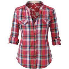 LE3NO Women's Two Pocket Button Down Plaid Lightweight Flannel Shirt ($14) ❤ liked on Polyvore featuring tops, shirts, flannel, plaid, red plaid top, plaid top, red tartan shirt, button up shirts and red button up shirt
