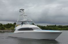 Fresh out of the factory and off to its new Captain! This sleek Bertram 64 with Pipewelders tower and Alexseal Yacht Coatings black mask was sold by Bluewater Yacht Sales.