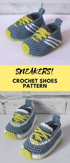 """Introducing the """"Federation"""" Runners sneaker pattern. This pattern has 2 versions, a single color version, and a two color version. Both are included in this listing. When you purchase this pattern you will receive 2 pdf files of both versions. Crochet Baby Boots, Crochet Slippers, Crochet Clothes, Knit Crochet, Baby Knitting Patterns, Baby Patterns, Crochet Patterns, Crochet Shoes Pattern, Baby Booties"""