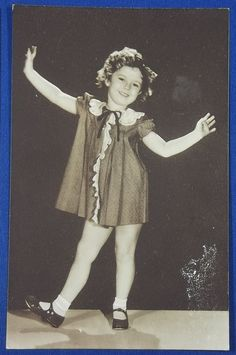 """1930's Shirley Temple Japanese Postcard """"Shirley showing tap dance """", / vintage antique old art card / Japanese history historic paper material Japan"""