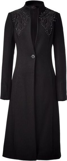 Black Wool Coat with Embroidered Detail - Lyst
