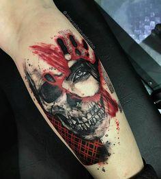 34 ideas tattoo ideas for guys color awesome Hand Tattoos, Skull Tattoos, Arm Tattoo, Body Art Tattoos, New Tattoos, Sleeve Tattoos, Tattoos For Guys, Trash Polka Frau, Tattoo Trash