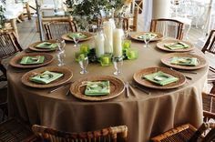 Green & brown table setting