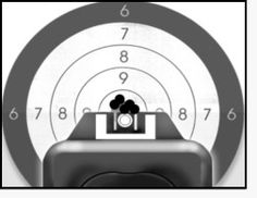 This is what good sight alignment looks like using the Glock brand of firearms. Along with a good sight picture and focus on the front sight and proper grip and trigger manipulation, you will have similar results on your target. Check out our handgun safety classes at Superior Security Concepts. http://www.superiorsecurityconcepts.com