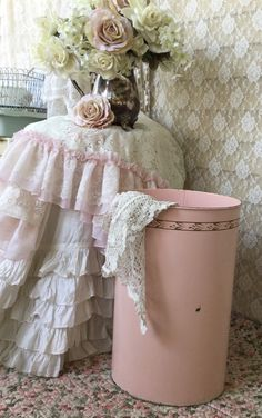 A personal favorite from my Etsy shop https://www.etsy.com/listing/234838994/shabby-pink-enamel-laundry-hamper-waste