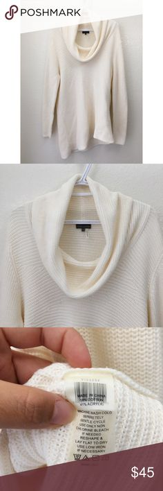 VINCE CAMUTO Asymmetrical Sweater Cowl neck sweater • Knitted • Never used • No Defects • Asymmetrical hem • Cowl Neck • Color: Off white/ Ivory Vince Camuto Sweaters Cowl & Turtlenecks