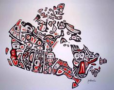 """Map of Canada. """"Our Home and Native Land""""  By Jen Adomeit 2006, A Canadian Artist, school teacher with a degree in Geography from UNBC (2007) and Education from Vancouver Island University (2008). Her heritage includes Swiss, German, French Canadian and Ukrainian – but no Aboriginal ancestry. Fascinated by the striking artistic style of the Northwest Coast First Nations, she created this painting representative of that style, while taking a FN art class while attending UNBC,"""