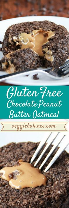 Chocolate Peanut Butter Oatmeal | This healthy dessert for breakfast oatmeal is a must for your next weekend morning. Low-sugar and gluten-free