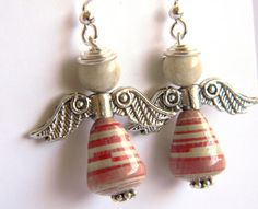 Paper Bead Jewelry - Angel Earrings - #1256 - Valentine's