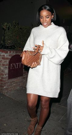 Stylish: Kelly Rowland, 35, showed off her flair for fashion as she enjoyed a night out at celebrity hot-spot Catch restaurant in Los Angeles on Friday