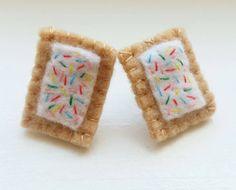 Felt Mini Poptart Earrings by olivethisfelt on Etsy https://www.etsy.com/listing/241583393/felt-mini-poptart-earrings