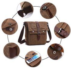 f577c27c8b60d1 LOSMILE Shoulder Bag, Men's Messenger Bags, 16 Inches Vintage Military  Canvas Laptop Bag for Work and School, Multiple Pocket. (Large, Black):  Amazon.co.uk: ...