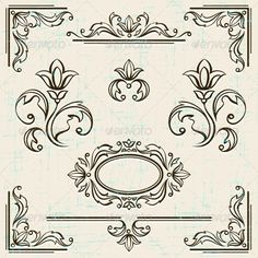Page Decoration Vintage Frames. by incomible Zip file contains fully editable RGB vector file and high resolution pixels RGB Jpeg image.EPS File does not contain transpar Background Design Vector, Background Patterns, Vector Design, Cool Art Drawings, Easy Drawings, Page Decoration, Fish Vector, Plant Vector, Free Vector Art