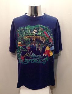 988cbbf82d 1994 RAINFOREST HABITAT Graphic Tee   Retro Wake Up To The Rainforest  Colorful Toucan Cheetah Wildlife Shirt Mens Size XL