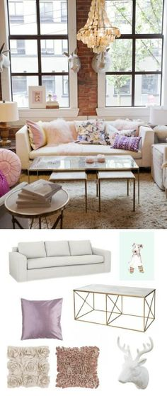 Lush #pastels and #florals. #livingroom #adoredecor #spring