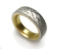 Platinum Hammered Yellow Gold Lined Ring Wedding Band by spexton
